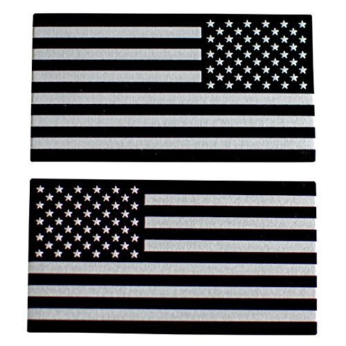 """Metal Patriotic (ALUMINUM American Flag Sticker Decal Emblem 