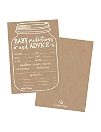 50 Mason Jar Advice and Prediction Cards for Baby Shower Game, New Mom & Dad Card or Mommy & Daddy To Be, For Girl or Boy Babies, New Parent Message Advice Book, Fun Gender Neutral Shower Party Favors BOBEBE Online Baby Store From New York to Miami and Los Angeles
