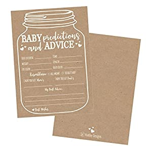 50 Mason Jar Advice and Prediction Cards for Baby Shower...