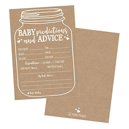 50 Mason Jar Advice and Prediction Cards for Baby Shower Game, New Mom & Dad Card or Mommy & Daddy To Be, For Girl or Boy Babies, New Parent Message Advice Book, Fun Gender Neutral Shower Party Favors Game Invitation