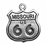 Sterling Silver 3D Missouri Route 66 Sign Travel Road Trip Dangle Charm Bead For Bead Bracelet