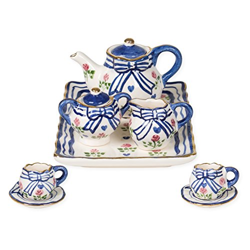 Blue, Pink and White Bow Design Porcelain Children's for sale  Delivered anywhere in USA