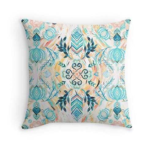 Abstract Painted Boho Pattern in Cyan & Teal for Sofa Couch Living Room Bed Decorative (Square 18×18)