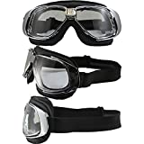 Nannini Rider Padded Motorcycle Goggles Hand-Sewn Leather Black/Chrome Frames Clear Anti-Fog Lenses