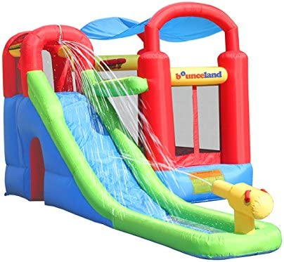 Inflatable Bounce House or Water Slide Wet or Dry with Sun Roof, Ball Pit 30 Balls, Water Gun, Fun Bouncing Area with Basketball Hoop, Long Slide with Climbing Wall, UL Certified Blower Included