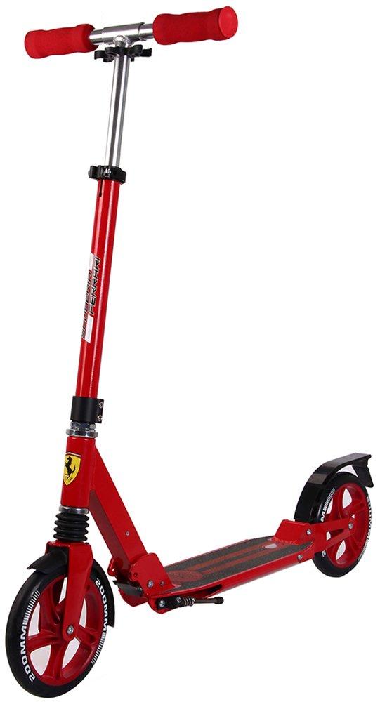 Ferrari(フェラーリ) 折りたたみキックスクーター サスペンション搭載 スタンド付属 調整可能ハンドル(3段階) 【ブラック/レッド】 B071F4N9R7 レッド レッド