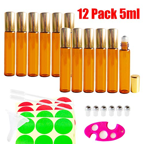 12pcs 10ml Empty AMBER Glass Roller Bottle w/ Gold Lid, Refillable Cosmetic Container for Essential Oil Perfume, Extra 0.5ml Dropper, Mini Funnel, Key Opener, 6 Stainless Steel Roll-on Balls, 24 Labels by GreatforU (Image #1)