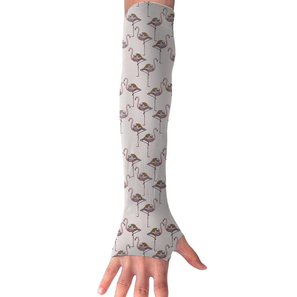 Unisex Flamingo Bulldog Sunscreen Outdoor Travel Arm Warmer Long Sleeves Glove