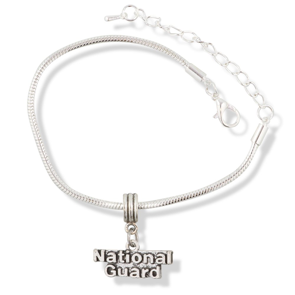 EPJ National Guard Text Snake Chain Charm Bracelet