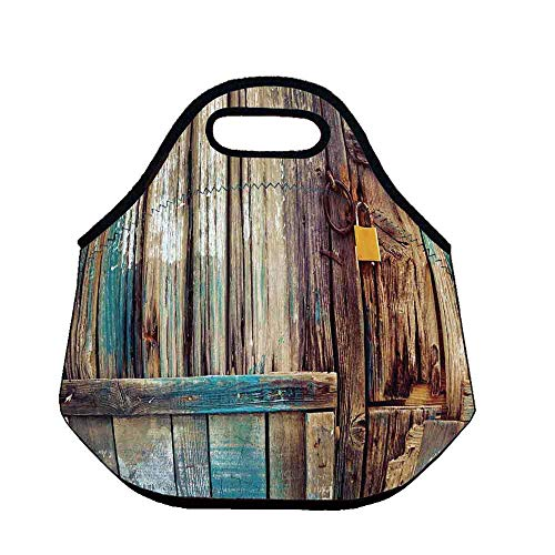 - Rustic Wear Resisting Neoprene Lunch Bag,Aged Shed Door Backdrop with Color Details Country Living Exterior Pastoral Mansion Image for Picnic Beach Office,Throw(11.8''L x 6.3''W x 11''H)