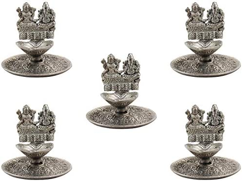 GoldGiftIdeas Oxidized White Metal Laxmi Ganesha Diya for Pooja Pack of 5 , Pooja Article for Return Gift, Lakshmi Ganesh Statue, Hindu Religious Item for Home,