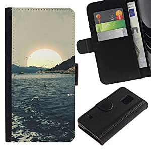 All Phone Most Case / Oferta Especial Cáscara Funda de cuero Monedero Cubierta de proteccion Caso / Wallet Case for Samsung Galaxy S5 V SM-G900 // Sunset Sea Seagulls Waves