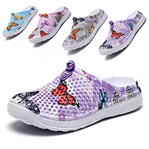 LIGHTEN Garden Shoes Womens Mens Quick-Dry Clogs Comfort Walking Sandals Slippers Non-Slip Beach Shower Water Shoes Butterfly Purple 37
