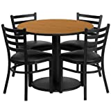 "Flash Furniture 36"" Round Natural Laminate Table Set with 4 Ladder Back Metal Chairs – Black Vinyl Seat For Sale"
