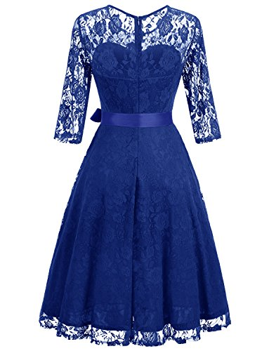 Royal Dressystar Bridesmaid Neckline Lace Sleeves Dress Blue 4 Women's Floral Illusion Midi Elegant 3 Dresses qqrpwaO