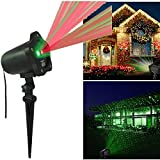 Christmas Lights Outdoor Projector Lights RayGold Waterproof, Red and Green Star for Christmas, Holiday, Party, Landscape and Garden Decorations