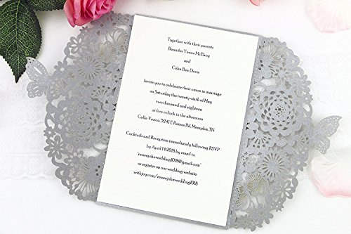 - FEIYI 25 pieces Laser Cut Lace Pattern Wedding Invitations Cards For Wedding Baby Shower Rehearsal Dinner Invites Birthday Invitation (Silver gray)