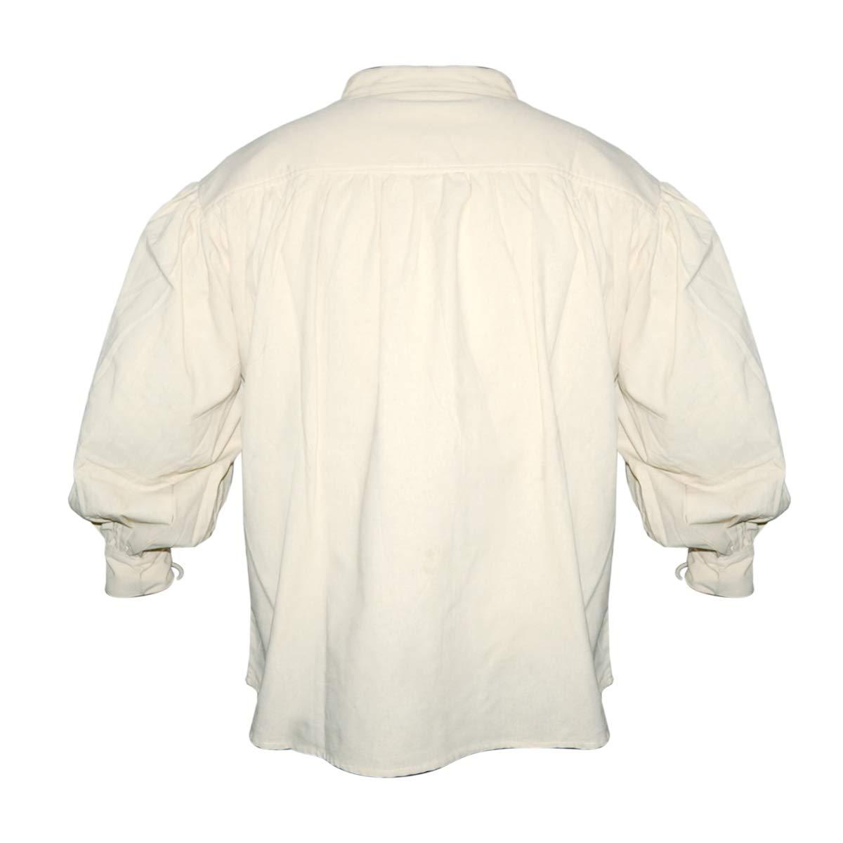 Natur//Mittelalter Gewandung//Syndicate Armoury SAY Mittelalter Baumwollhemd mit Schn/ürung an Kragen und /Ärmeln//Farbe