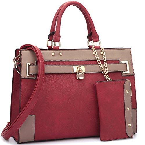 Womens Two Tone Fashion Handbag For Women Top Handle Satchel Bag Padlock Designer Purse With Matching Wristlet