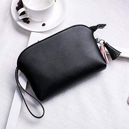 Colorful(TM) Mode Frauen Quasten Lichee Muster Shell Typ Handtasche Münze Handytasche (GY) BK