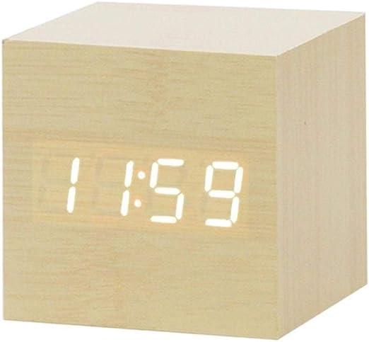 Ybqy Reloj de Alarma Reloj de Madera Reloj de Alarma Reloj de Mesa ...