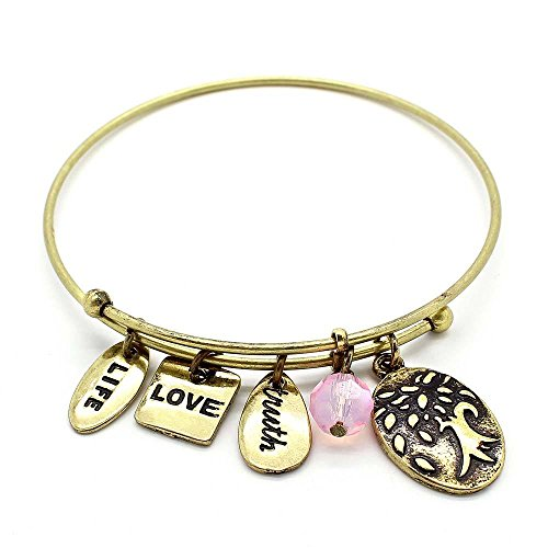 KIS-Jewelry Symbology 'Tree of Life 2' Bangle Bracelet, Brass Plated - Expandable Wire Charm Bracelet Accented with Crystal Stones and One Shiny Glass Bead - Perfect Jewelry for Fashion