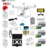DJI Phantom 4 PRO Plus (Pro+) Drone with 1-inch 20MP 4K Camera KIT With Monitor + 4 Total DJI Batteries + 3 64GB SDXC Cards + Reader + Prop Guards + Range Extender + Harness + Charging Hub + HardCase