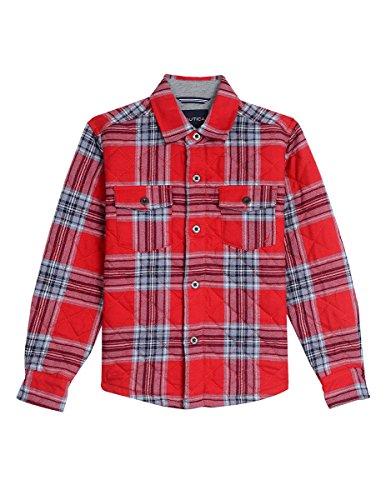 Nautica Little Boys' Long Sleeve Woven Shirt Jacket, Red Rouge, (Woven Long Sleeves Jacket)