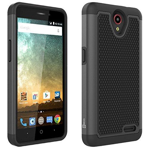 ZTE Maven 2 case, ZTE Prestige case, ZTE Sonata 3 case, CoverON [HexaGuard Series] Slim Hybrid Hard Phone Cover Case for ZTE Maven 2/ Prestige/Sonata 3 - Black & Black