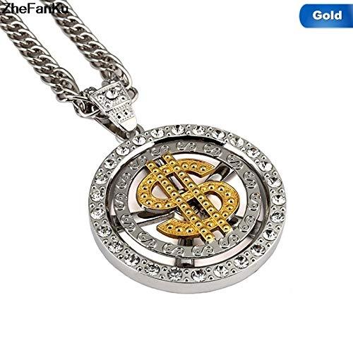 Davitu Men//Women Us Dollar Money Pendant Necklace Gold//Silver Plated American Hip-hop Rapper 80cm Cuban Link Chain Jewelry Metal Color: Silver