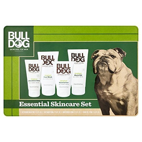 Bulldog Original Essential Skincare Large tin Gift Set including: Aftershave Balm 75ml, Face Wash 150ml, Moisturiser 100ml and Shave Gel 175ml