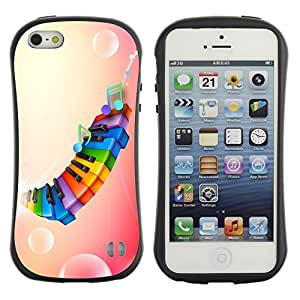 LASTONE PHONE CASE / Suave Silicona Caso Carcasa de Caucho Funda para Apple Iphone 5 / 5S / Rainbow Color Piano Pink
