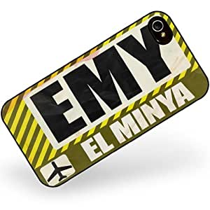 Rubber Case for iphone 4 4s Airportcode EMY El Minya - Neonblond