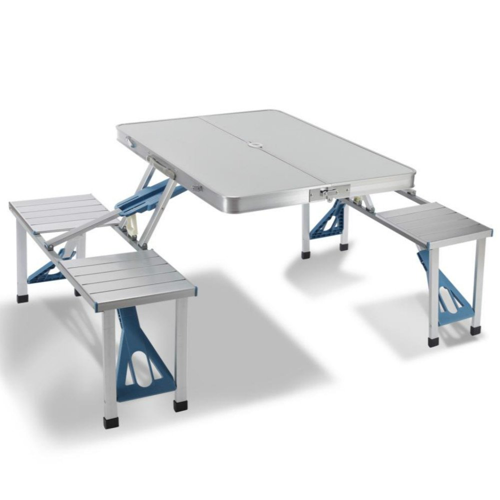 Artist Hand Aluminum Folding Picnic Table with 4 Seats Portable Camping Table with Bench Outdoor Suitcase Table Game Table by Artist Hand