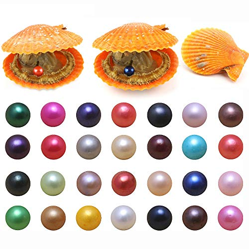 10PCS Red Pearl Oysters, Saltwater Cultured Pearl Red Shell with 6.5-7.5 mm Round Pearl Random Color