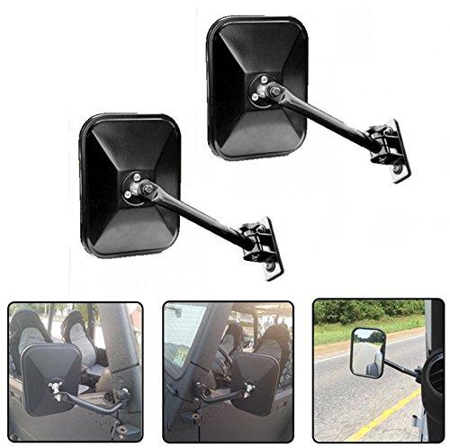 Side View Door Mirrors for Jeep Wrangler JK CJ YJ TJ 07-17 Rectangular Mirrors - Jeep Wrangler Side Mirrors