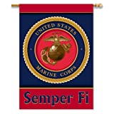 Cheap U.S. Marine Corps 2-Sided Banner with Pole Sleeve (28-Inch x 40-Inch)