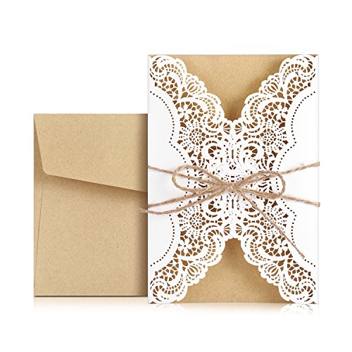 WEBO 20X Laser Cut Invitations Cards Kit With Rustic Rope For Wedding Invitations,Bridal Shower Invitations Rehearsal Dinner Invitations,Bachelorette Party Invitations,Engagement,White (Rustic Wedding Invitation Kits)