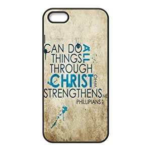 Philippians 4:13 Religious Bible Verse Inspirational Quote Protective Rubber Cell Phone Cover Case for iPhone 5,5S Cases