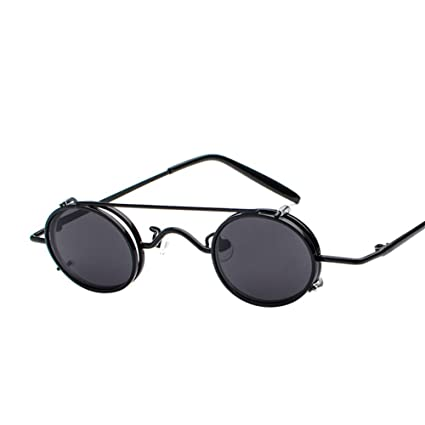 6e2984e0e6 Image Unavailable. Image not available for. Color  PEEKABOO Clip on  Sunglasses Steampunk Small Oval Metal Eyeglasses Mirrored Lens Retro ...