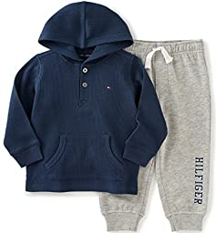 Tommy Hilfiger Little Boys\' Thermal Hooded Top with Fleece Pants Set, Navy, 5