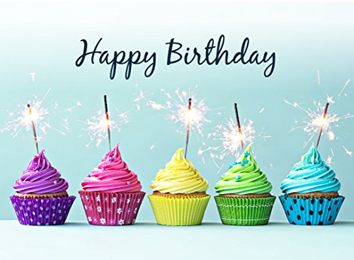 Birthday Greeting Cards - B1605. Business Greeting Card Featuring Colorful Cupcakes and Sparkling Candles. Box Set Has 25 Greeting Cards and 26 Bright White Envelopes.