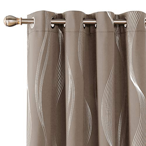 Deconovo Khaki Blackout Curtains Room Darkening Foil Print Wave Stripe Design Thermal Insulated Grommet Window Drapes… 1