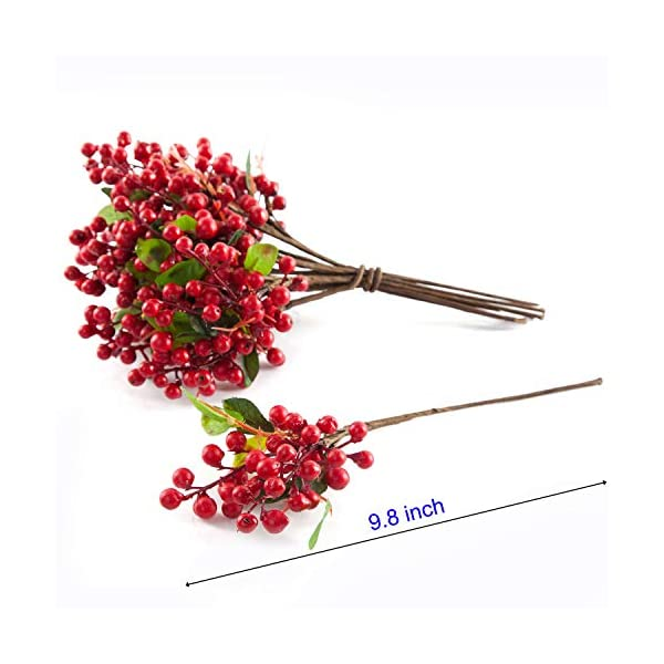 20 PCS, Berry Red berryred20 SHACOS Artificial Red Berry Picks Pack of 20 with Green Silk Leaves 9.8 Tall Fake Berry Spray for Home Office Decor Wedding Decorations Crafts