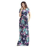 Lovezesent Women's Floral Print Crew Neck Short Sleeve Maxi Casual Dress