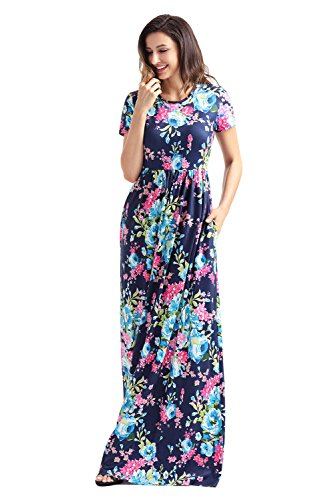 New Style Womens Pocket Design Short Sleeve Floral Print Long Dress Maxi Dresses For Women(FBA)