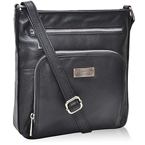 Genuine Leather Front Pocket Zipper Crossbody Handbag for Women - Handmade by LEVOGUE (Black Floater)