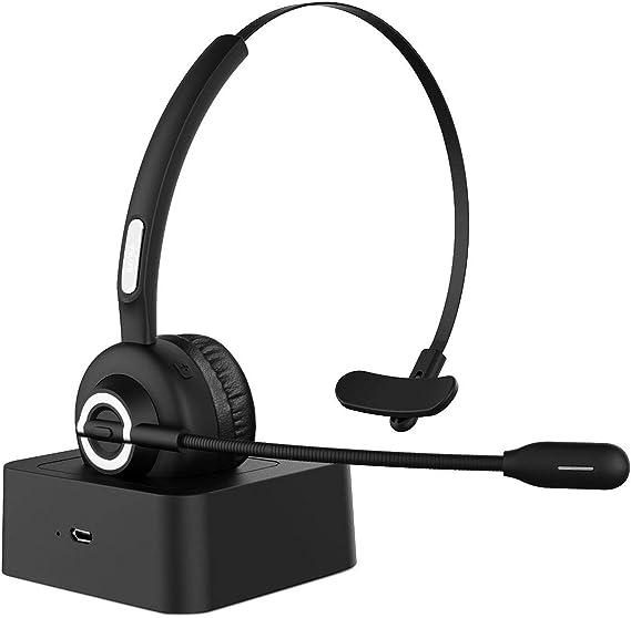 HolyHigh Auriculares Bluetooth Teléfono Micrófono Bluetooth 5.0 con Base de Carga Auriculares Diadema Cancelación de Ruido, Manos Libres para Llamdas Servicio Telefónico Oficina: Amazon.es: Electrónica