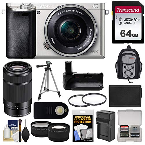 (Sony Alpha A6000 Wi-Fi Digital Camera & 16-50mm (Silver) with 55-210mm Lens + 64GB Card + Case + Battery & Charger + Grip + Tripod + 2 Lens Kit)
