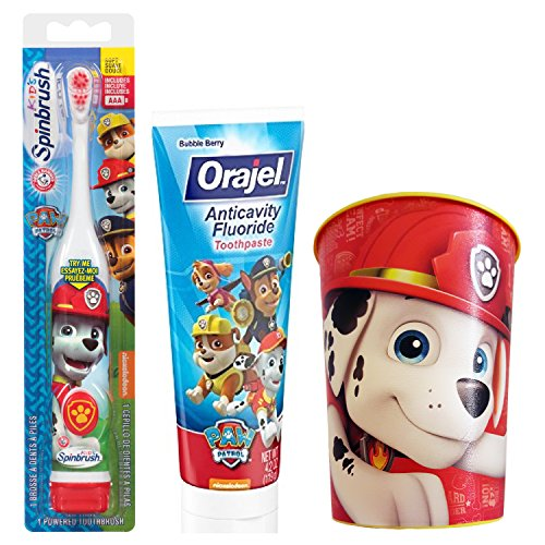 Paw Patrol Marshall Toothbrush & Toothpaste Bundle: 3 Items - Spinbrush Toothbrush, Orajel Bubble Berry Toothpaste, Kids Character Rinse Cup by Kids Marshall Dental Kit (Image #5)